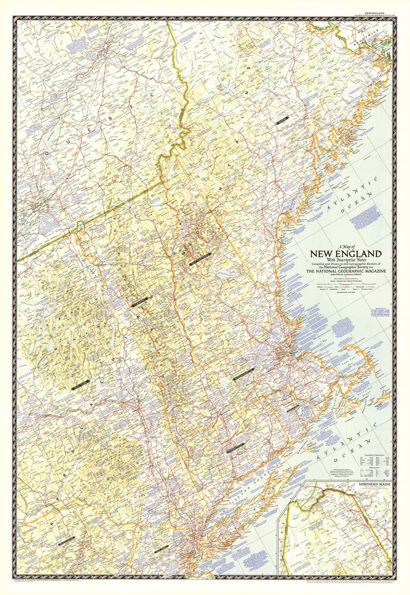 Map of New England with Descriptive Notes 1955
