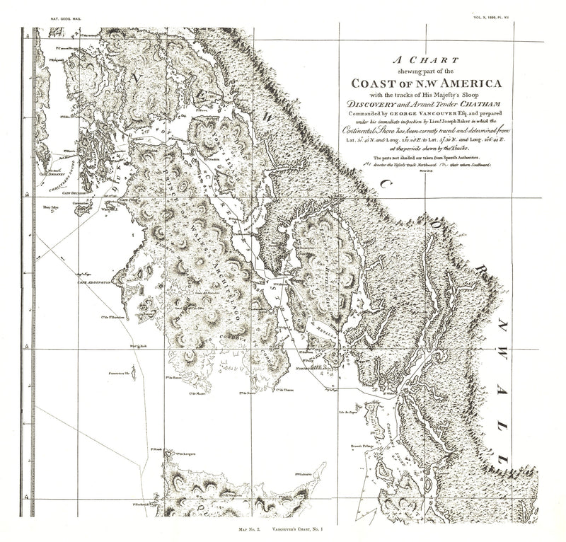 "Coast Of Northwest America Map 1899 ""Chart 2"""