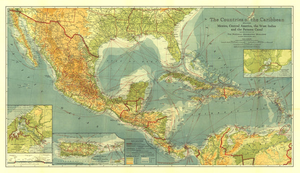 Countries Of The Caribbean Map 1922