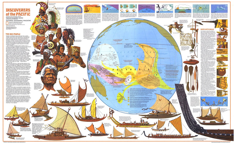 Discoverers Of The Pacific Map 1974
