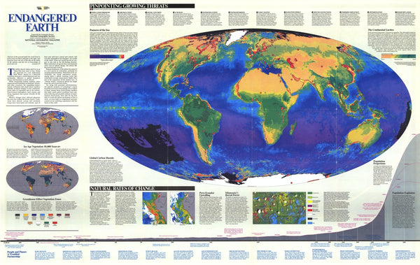 Endangered Earth Map 1988 By National Geographic