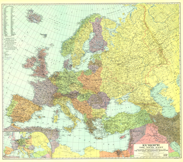 Europe, And The Near East Map 1929