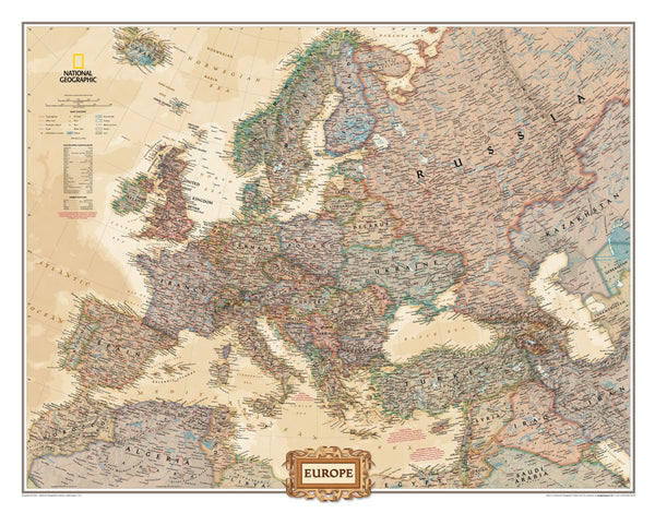 National Geographic Europe Executive Wall Map