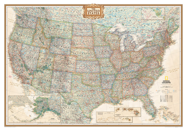 National Geographic Executive USA Wall Map