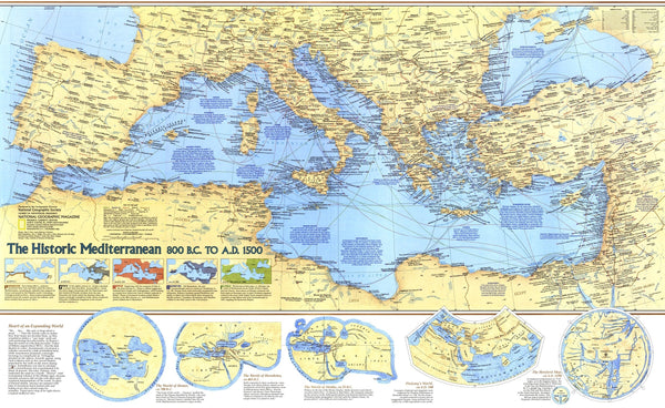 Historic Mediterranean, 800 BC to AD 1500 Map