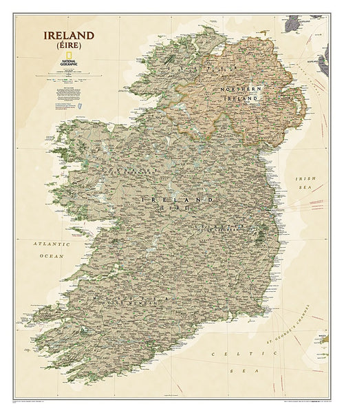National Geographic Ireland Executive Wall Map
