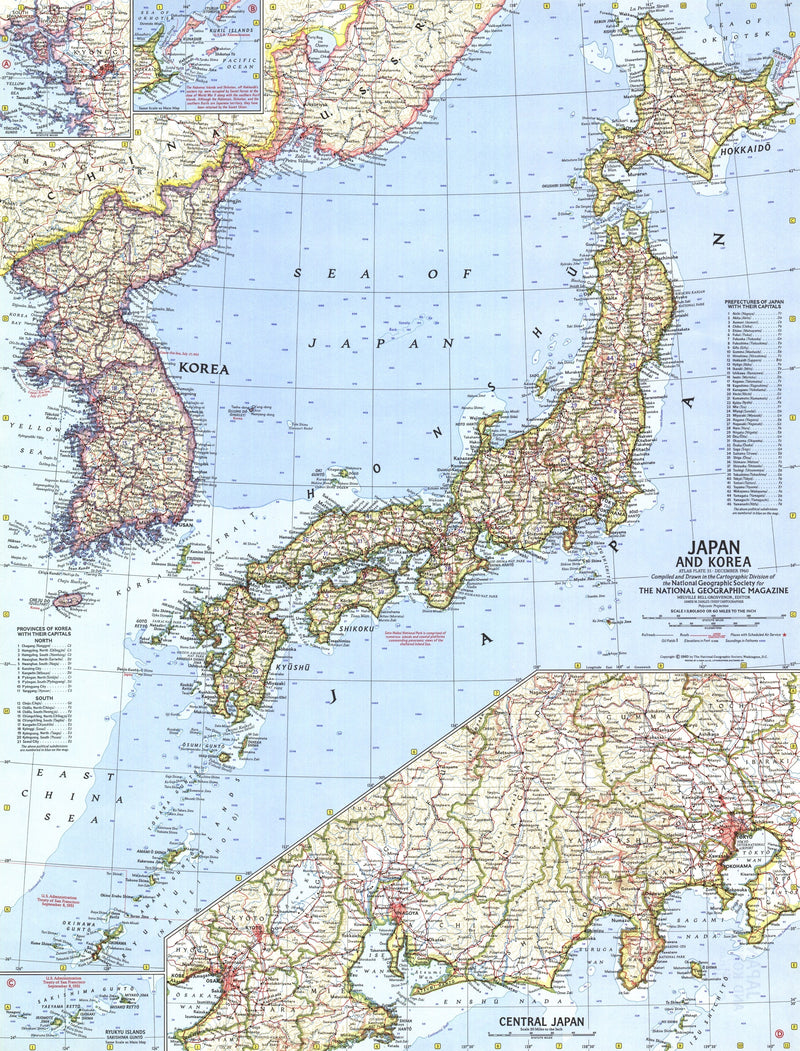 Japan And Korea Map 1960