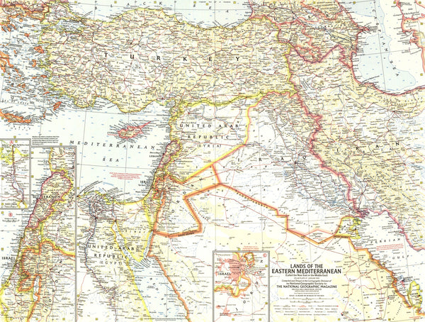 Lands Of The Eastern Mediterranean Map 1959