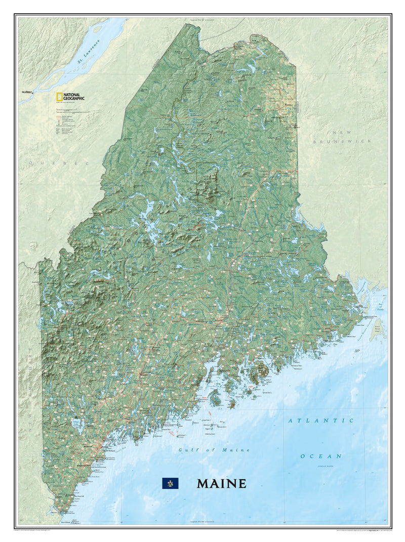 National Geographic Maine Wall Map