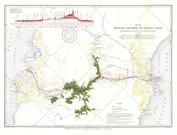 Map Showing Location of Panama Canal 1899-1902