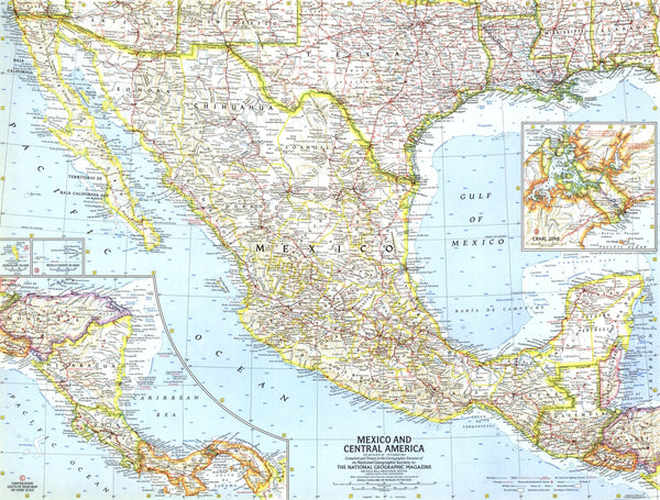 Mexico And Central America Map 1961