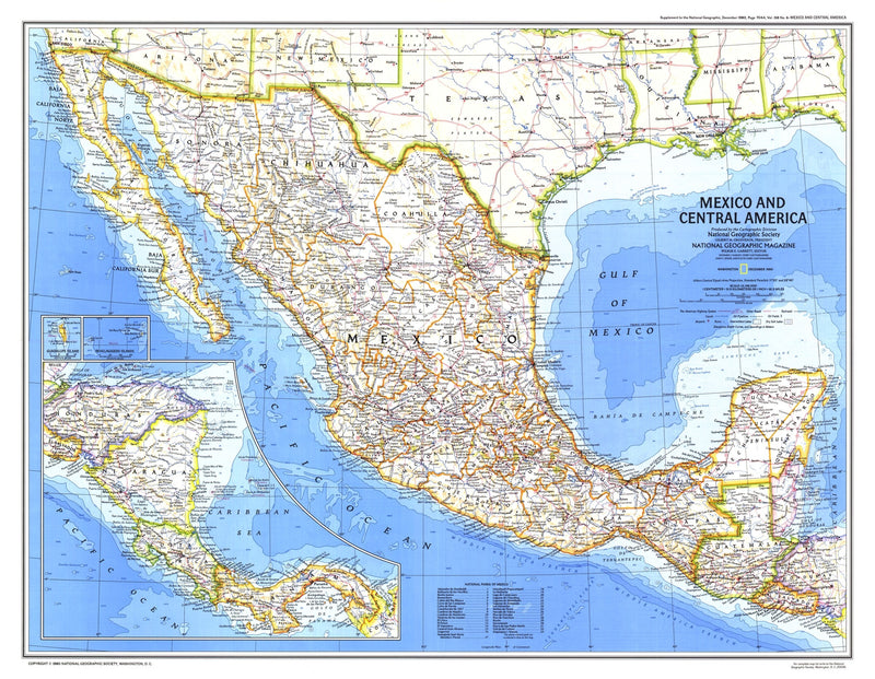 Mexico And Central America Map 1980