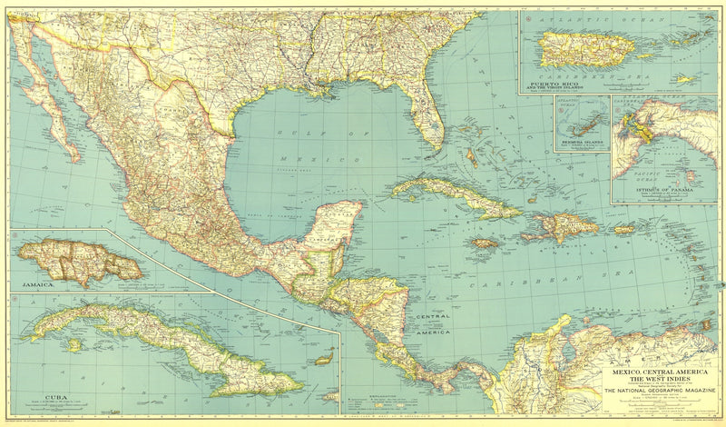 Mexico, Central America And The West Indies Map 1934