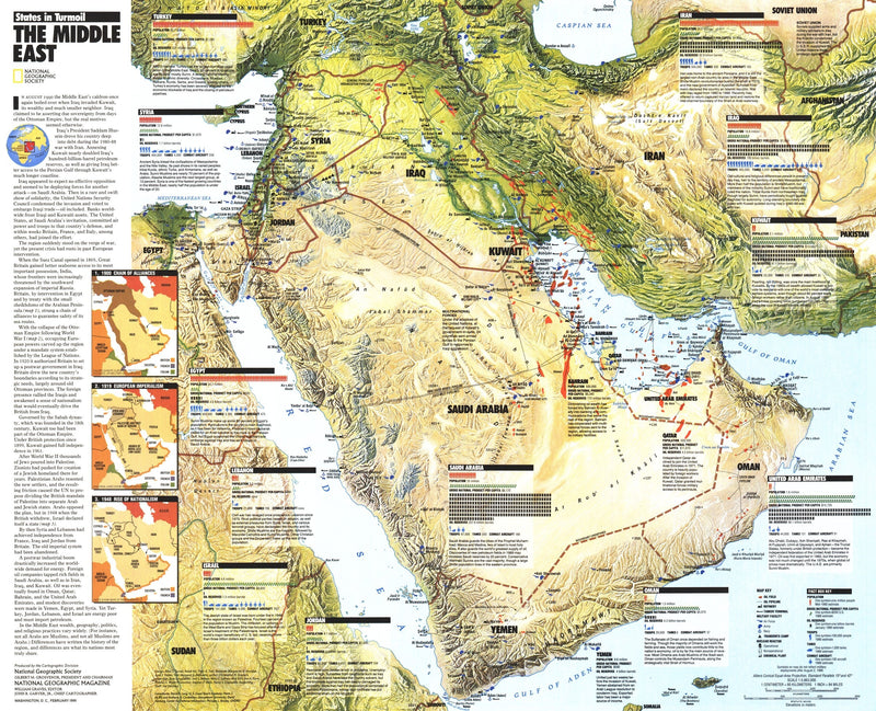 Middle East: States In Turmoil Map 1991