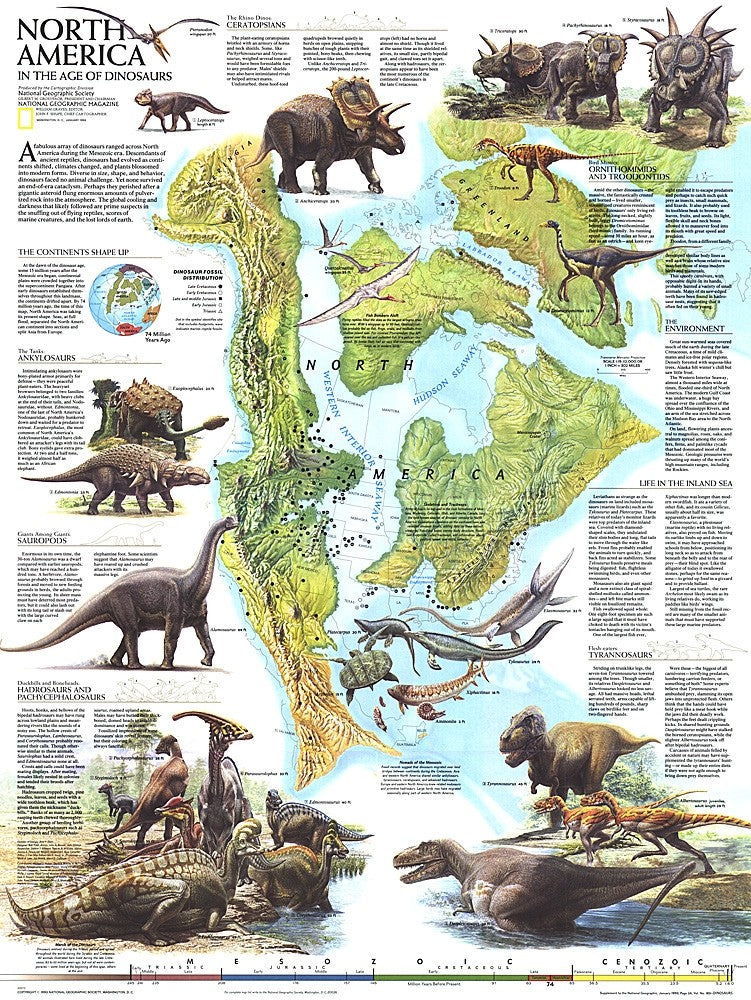National Geographic North America in Dinosaur Age Wall Map