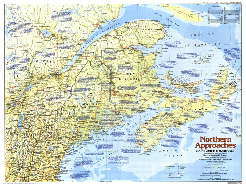 Northern Approaches Maine to the Maritimes Map 1985 Side 1