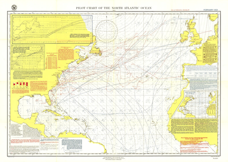 Pilot Chart Of The North Atlantic Ocean Map 1903