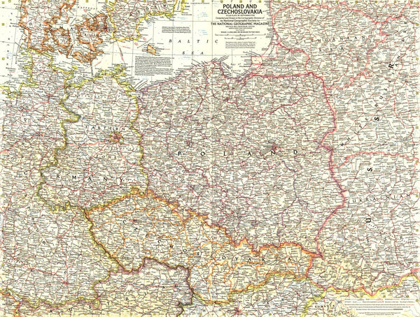 Poland And Czechoslovakia Map 1958