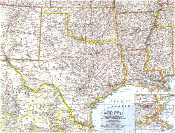 South Central United States Map 1961