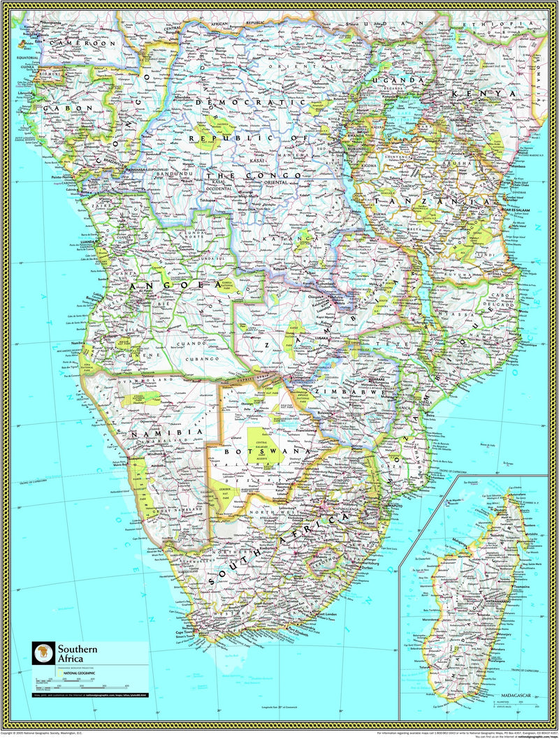 National Geographic Southern Africa Wall Map
