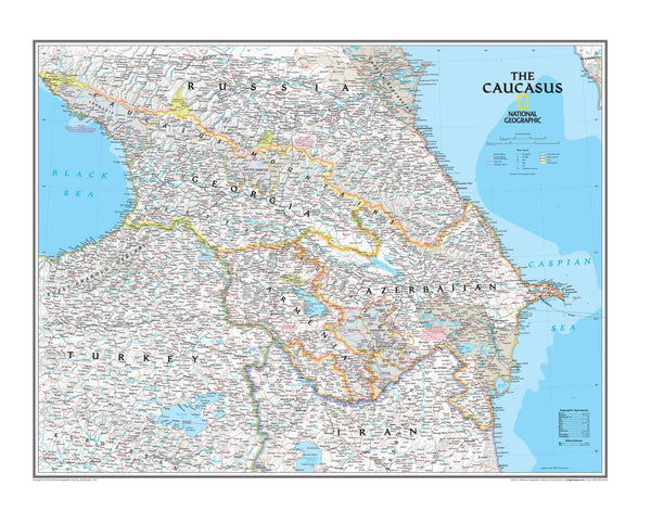 National Geographic The Caucasus Wall Map