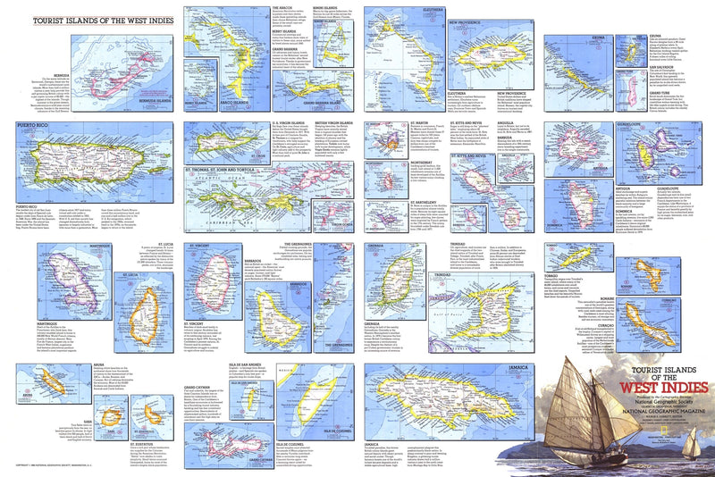 Tourist Islands Of The West Indies Map 1981