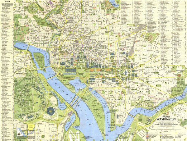 Tourist Washington DC Map 1964