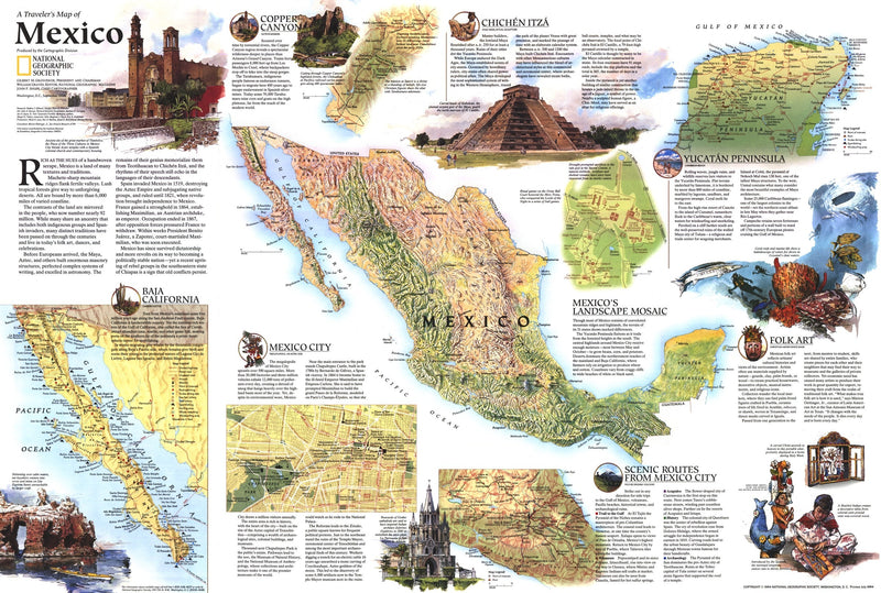 Travelers Map Of Mexico Map 1994