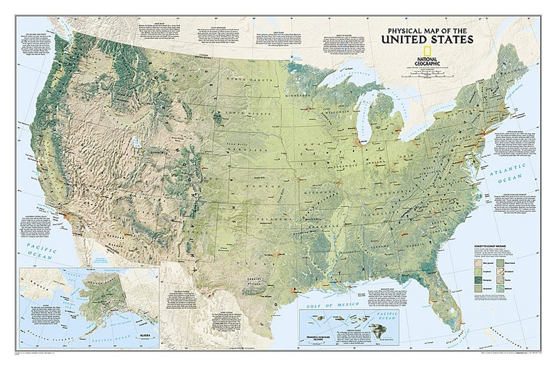 National Geographic USA Decorative Physical Map