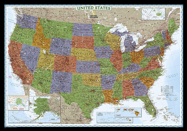 National Geographic USA Decorative Wall Map