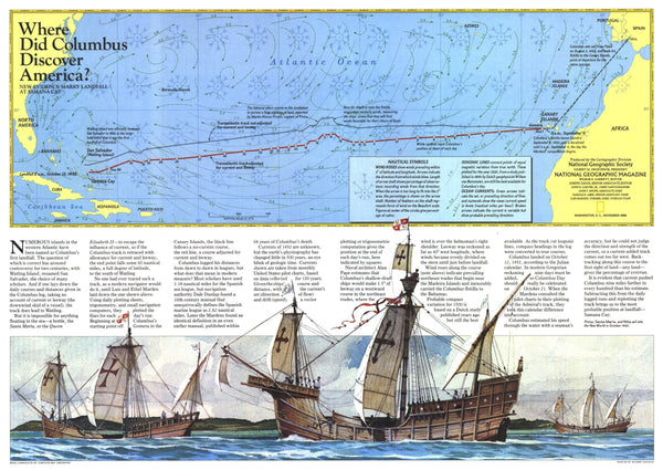 Where Did Columbus Discover America? Map 1986