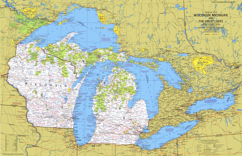 Wisconsin, Michigan, And The Great Lakes Map 1973