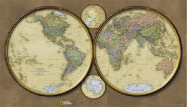 National Geographic World Hemispheres Wall Map