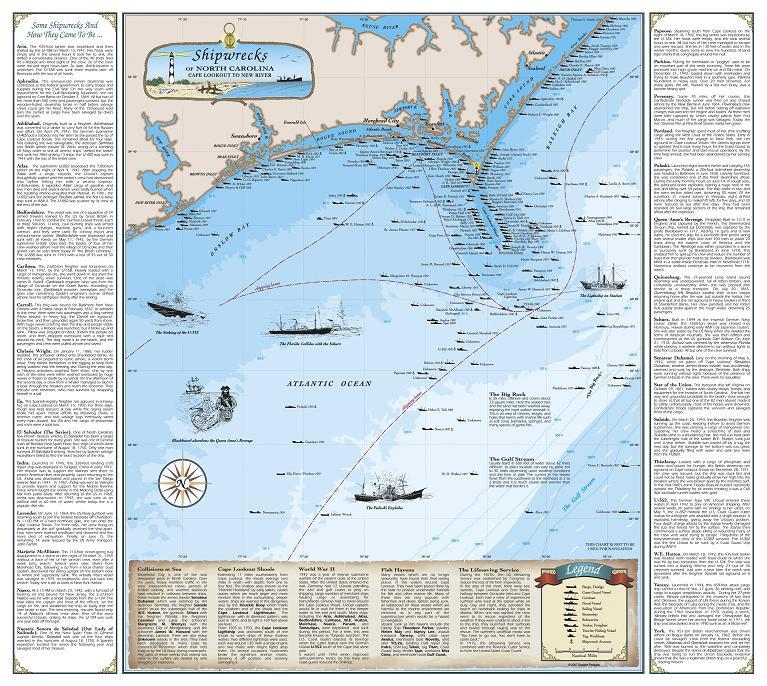 Cover of Shipwrecks of North Carolina Map : Cape Lookout to New River Inlet