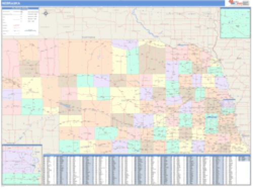 Nebraska Business Wall Map