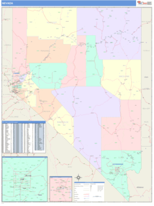 Nevada Business Wall Map