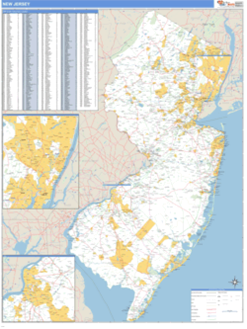 New Jersey ZIP Code Wall Map