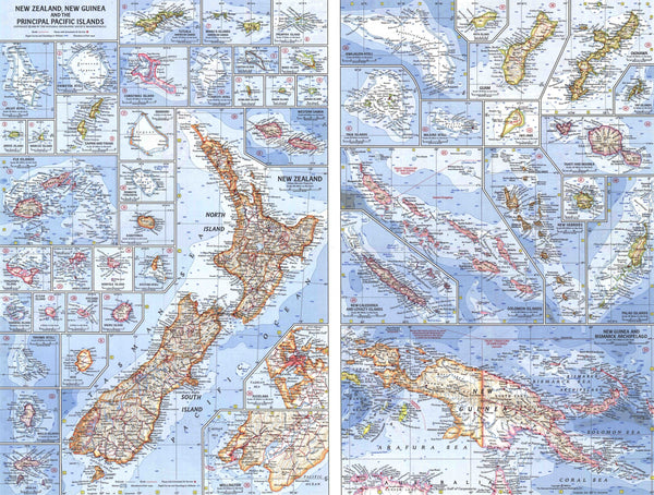 New Zealand, New Guinea And The Principal Pacific Islands Map 1962