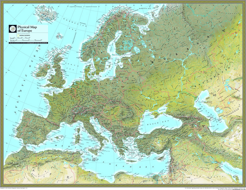 National Geographic Europe Physical Wall Map