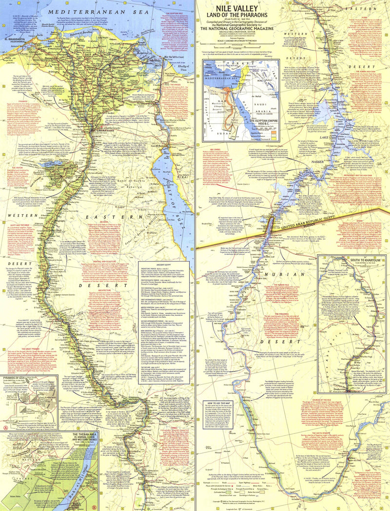 "Nile Valley, Land Of The Pharaohs Map 1965 ""Side 1"""