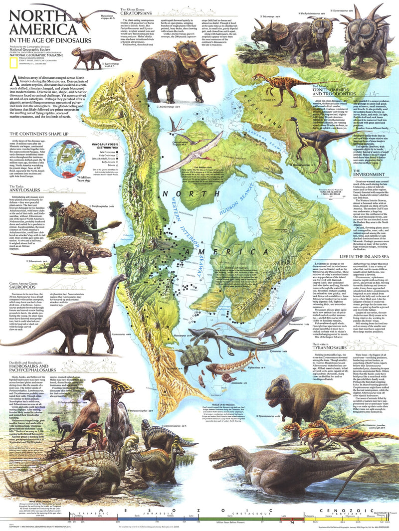 North America In The Age Of The Dinosaurs Map 1993
