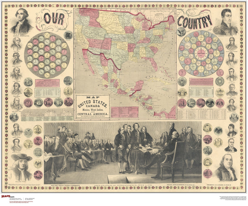 North America Antique Wall Map 1859