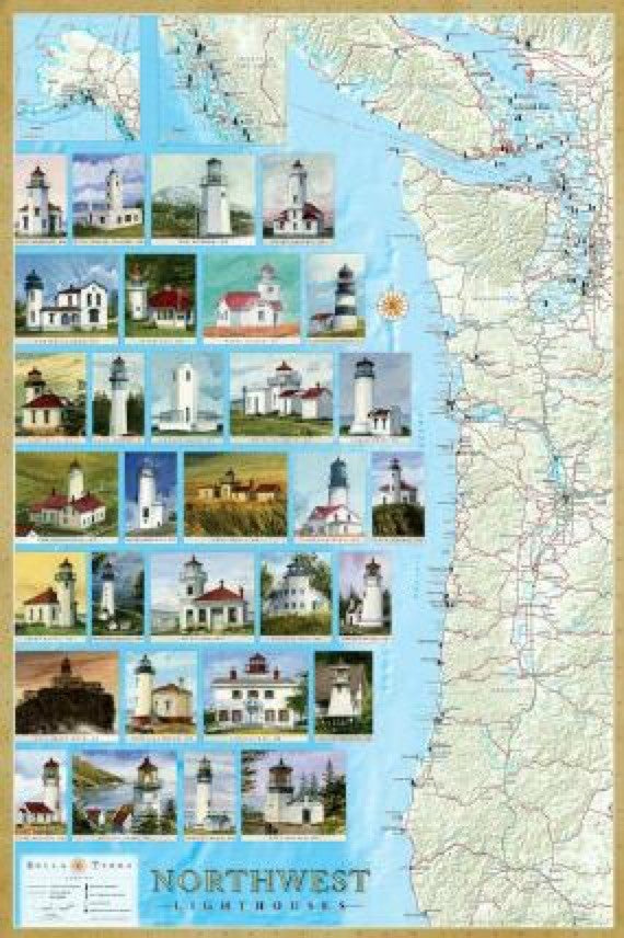 Northwest Lighthouses Map - Laminated Poster