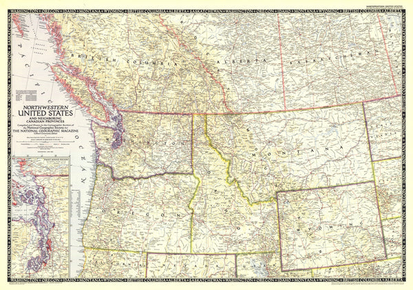 Northwestern United States and Canadian Provinces Map 1950