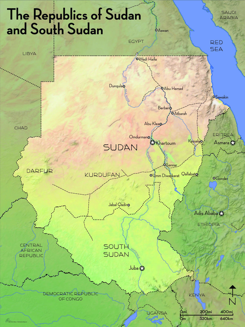 Physical Map of Sudan / South Sudan