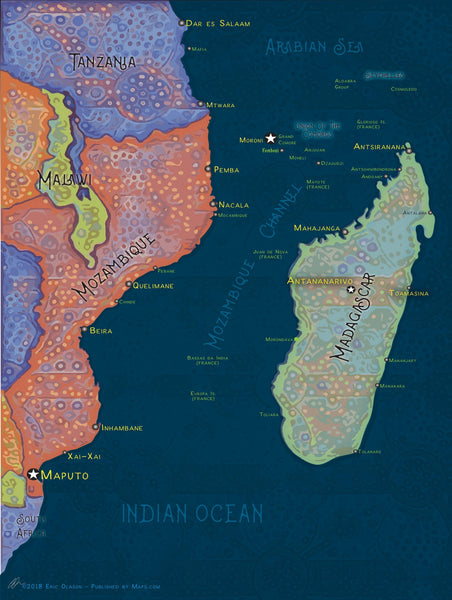 Vibrant Mozambique Channel Cartographic  Wall Art