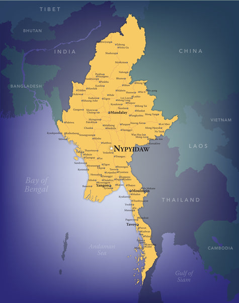 Burma (Myanmar) Wall Map