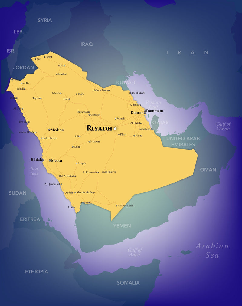 Saudi Arabia Wall Map