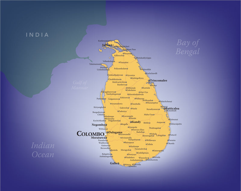 Sri Lanka Wall Map