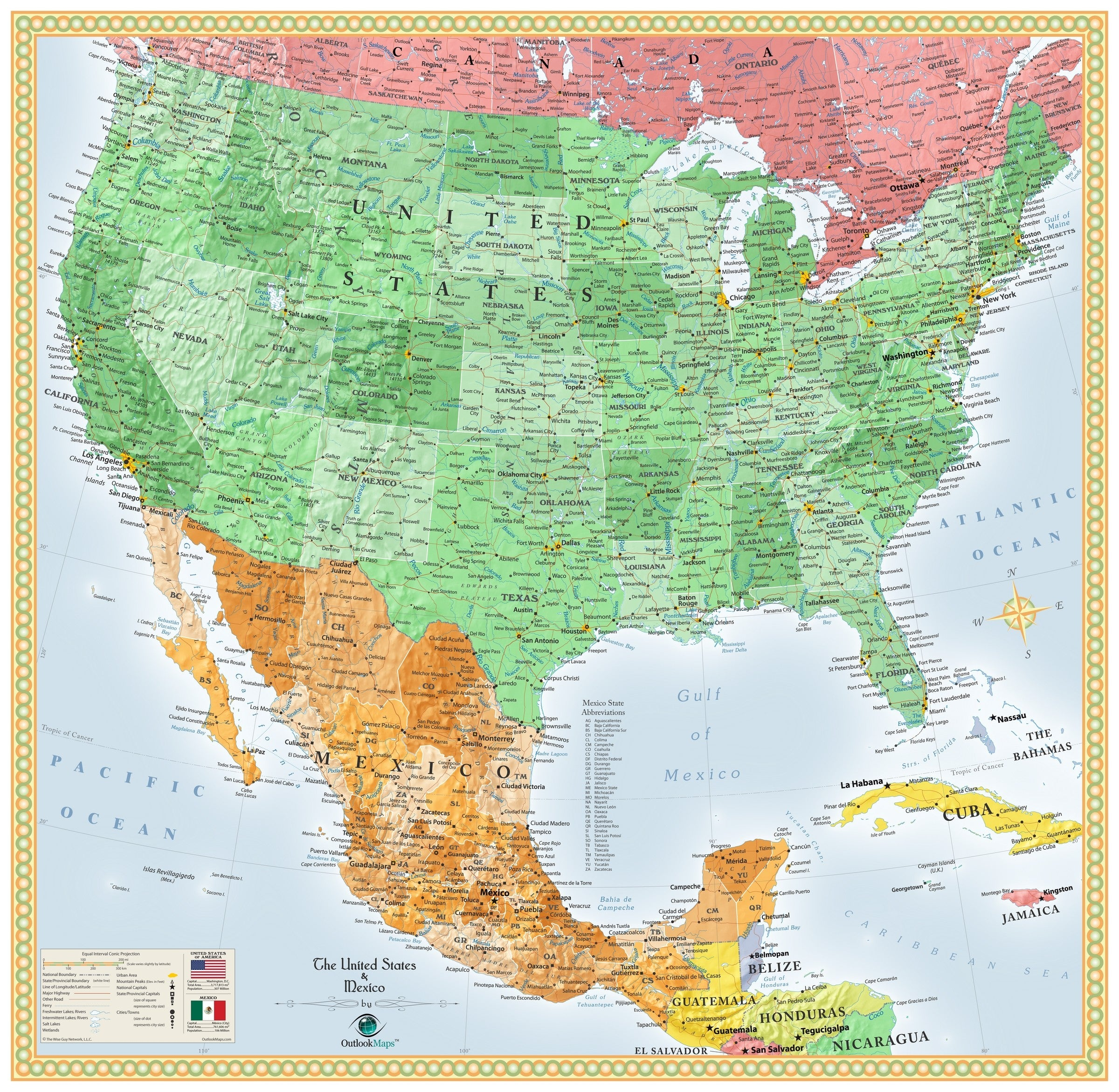 Map Of Us Mexico USA and Mexico Wall Map | Maps.com.com